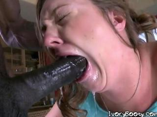 Nasty Babe Swallows A Black Cock And Gets Pounded
