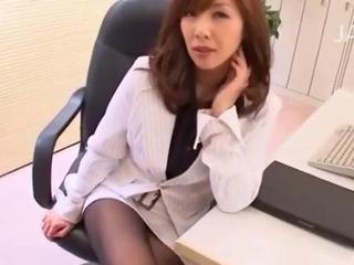 Asian office woman teases roughly her pantyhose