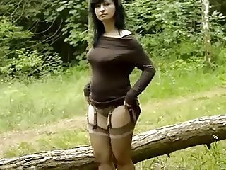 Amateur European French Girlfriend Outdoor Stockings