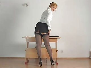 Amateur Amazing Legs  Skirt Stockings Teacher