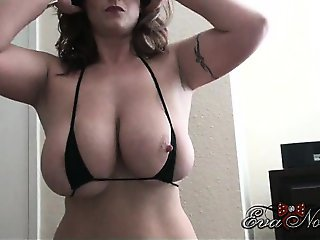 Amazing Big Tits Bikini  Natural Nipples Tattoo