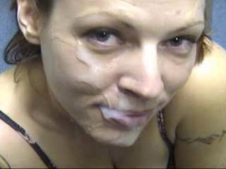 Tattooed slut facial
