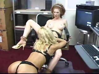Lesbian Licking  Office