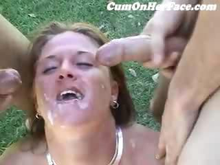 Cumshot Facial  Outdoor Swallow