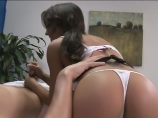 Cock-teaser banged in a massage room