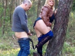 Amateur Blonde Clothed  Outdoor Wife