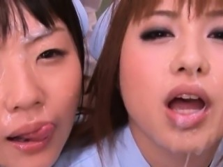 Asian Babe Cumshot Facial Japanese Nurse Uniform
