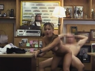 Slutty Blonde Fucked On A Desk In Back Office Of Pawn Shop