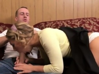 Blonde Blowjob Clothed