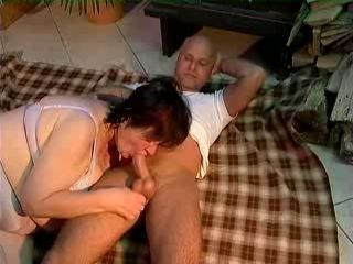 Fat with hairy pussy sucks and fucks
