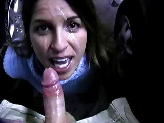 Brunette Gives A Blowjob In The Parking...