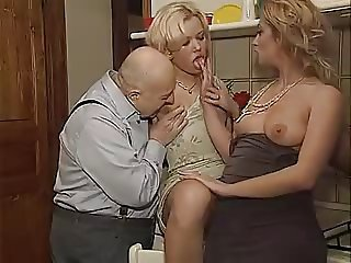 Blonde Daddy Daughter European Family Italian Kitchen Old and Young Threesome