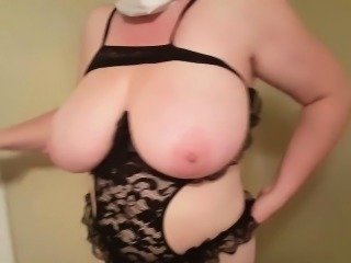 Granny with huge boobs gets overt