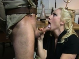 Army  Blonde Blowjob Clothed  Wife