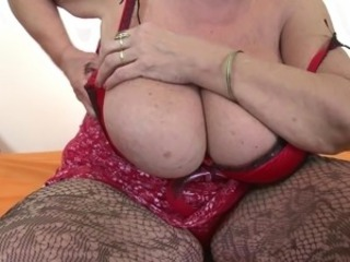 Very grey granny with heavy tits coupled with hairy pussy