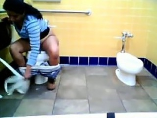 Fat Indian Watched Pissing On A Toilet