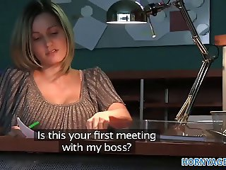 Amateur Blonde  Office Secretary