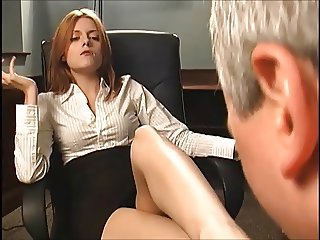 Redhead boss makes him suck their way feet