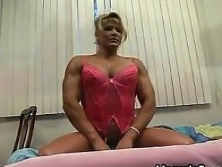 Blonde Bodybuilder Flexing In Lingerie