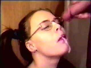 Girl With Glasses Blowjob Facial