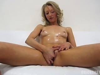 Amateur Casting Cute European Masturbating  Oiled Small Tits