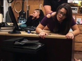 Amateur Brunette Clothed Glasses Office Student