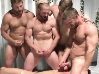 Gay group orgy dudes jerking off convenient same time