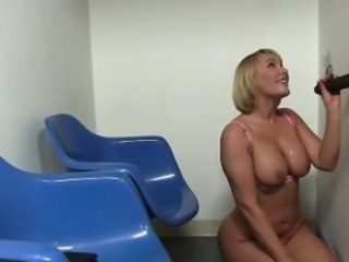 Big Tits Blonde Gloryhole Handjob Interracial