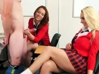 Cfnm babe Victoria Summers jerks teacher