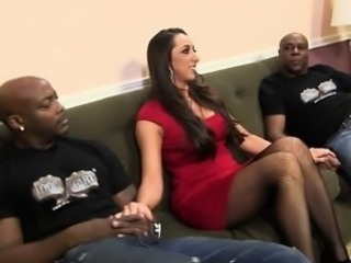 Amazing Brunette Interracial   Threesome