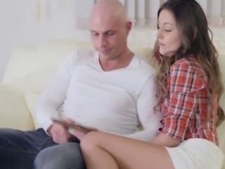 Tattooed cougar cocksucking together with jerking