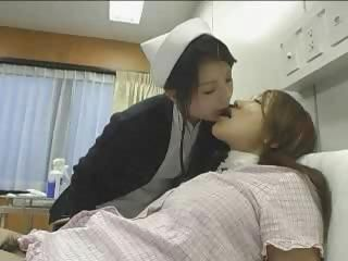 Asian nurse gives her patient some extra care and toys her pussy