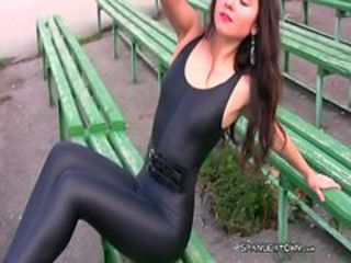 Girl in spandex leggings russian pantyhose