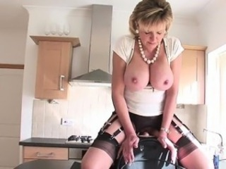 Big Tits Blonde Kitchen Machine  Pornstar Silicone Tits Stockings