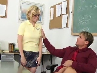 Schoolgirl In Glasses Blows Professor Stay away from