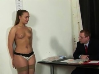 Naked job interview for wannabe secretary girl