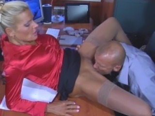 Blonde Clothed Licking Mature Office Secretary Stockings