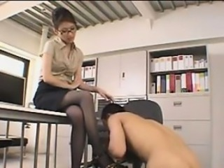 Amazing Asian Glasses  Office Secretary Stockings