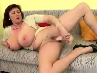 Amazing Big Tits Dildo Masturbating Mature Mom Toy