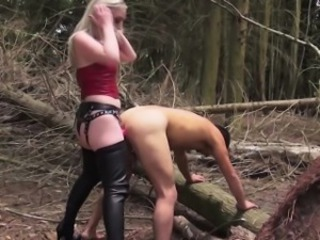 Rough english domme demeaning sub outdoors