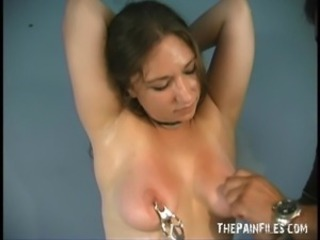 Caras Rookie jug torture plus explicit nipple clamped domination be advisable for debutant...
