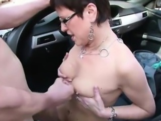 Car Cumshot European German Glasses  Outdoor Small Tits