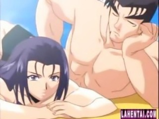 Busty anime babe is on the beach and eats cock in advance getting drilled