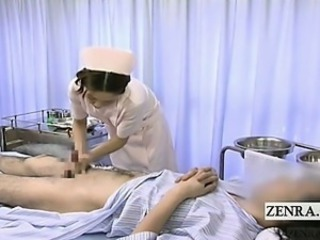Subtitled medical CFNM handjob cumshot with Japan carefulness