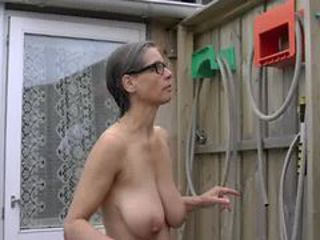 Busty Tina - Naked outside