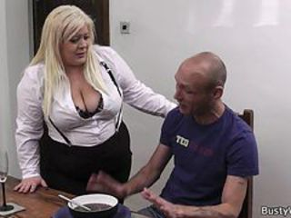 Busty blonde sob sister pleases boss