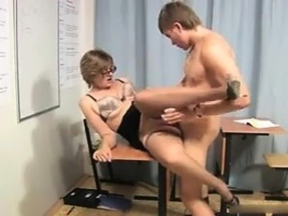 Glasses Mature Mom Old and Young School Stockings Teacher