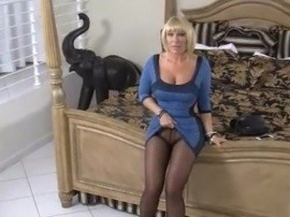 Delicious blonde MILF in stockings pantyhose fucks lucky varlet