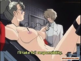 Chained hentai gets electric shock and dildoed wetpussy