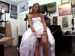Amateur Blonde Bride  Office